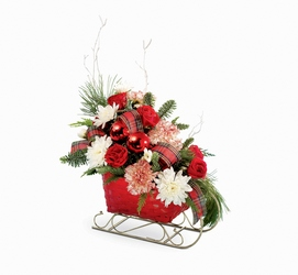 Sleigh Ride Arrangement from Maplehurst Florist, local flower shop in Essex Junction